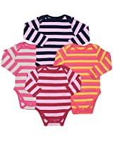Leveret Long Sleeve 4-pack Striped Baby Girls Bodysuit 100% Cotton (Size 0-24 M)
