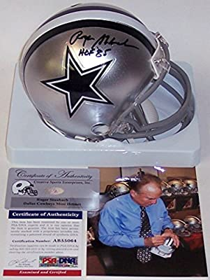 Roger Staubach Autographed Hand Signed Dallas Cowboys Mini Football Helmet - with HOF 85 Inscription - PSA/DNA