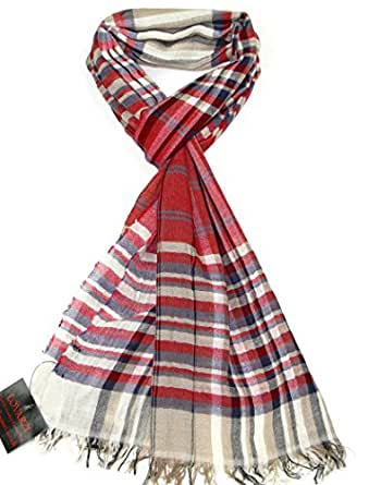 Lovarzi Men's Scarf Red & Blue - Checkered Cotton Scarfs ...