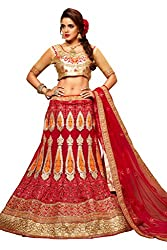 Silvermoon women's Net Embroidered heavy lehenga choli-sm_NMMJA7003A_Red_free size