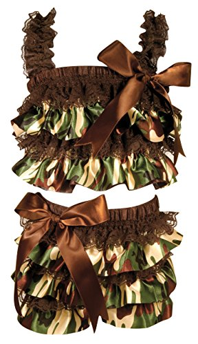 Stephan Baby Ruffled Flapper Top and Diaper Cover, Camo Print, 18-24 Months