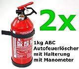2 x Feuerl�scher Autofeuerl�scher ABC 1kg mit Halterung fabrikfrisch