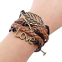 Sortitio's Vintage Leaf Love Brown Bracelet