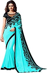 Fableela Women's Chiffon Saree with Blouse Piece (Blue)