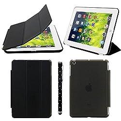 Elite EA5621819 Ultra Thin Smart Flip Foldable Flip Case Cover for Apple iPad Mini 1 & 2 Retina Tablet With Stylus (Black)