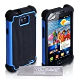 Yousave Accessories Hard/Soft Dual Combo Grip Back Silicone Gel Cover Case with Screen Protector Film and Micro Fibre Polishing Cloth for Samsung Galaxy S2 i9100 - Blue/Blackby Yousave Accessories