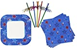 Stars and Stripes Patriotic Plates, Napkins, and Firework Straws Set- Memorial Day Fourth of July
