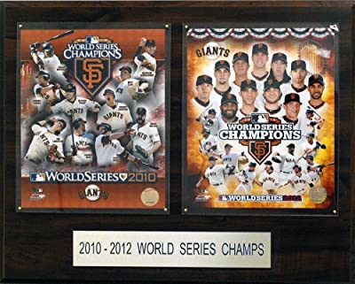 MLB San Francisco Giants 2010 and 2012 Champions 16 x 20-Inch Plaque