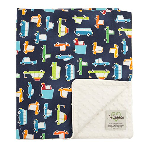 "My Blankee Road Trip Organic Cotton Navy w/ Minky Dot Cream Baby Blanket, 30"" X 35"""