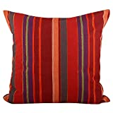 "Swadeshi Store Multi Color Stripe 100% Handwoven Cotton Cushion Cover - Red (16""X16"")"