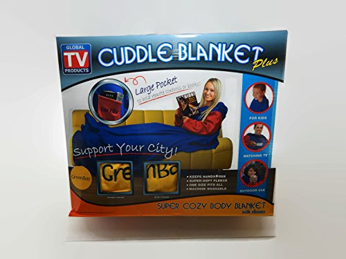 Cuddle Blanket Plus with Sleeves - Green Bay - With Large Pocket