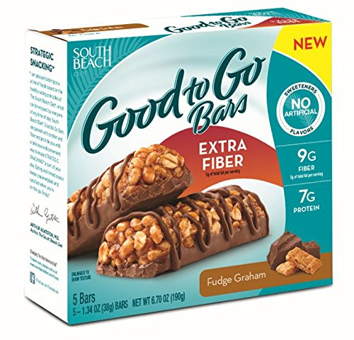 South Beach Diet Good To Go Bars, Extra Fiber, Fudge Graham, 1.34 Ounce, 5 Count (Pack of 8)