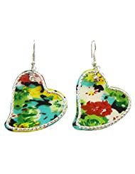 DollsofIndia Pair Of Colorful Acrylic Heart Earrings - Acrylic - Multicolor