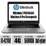 HP Thin and Light EliteBook Premium Build G1 14-Inch Anti-Display Notebook with Intel Core i5-4210U processor / 4GB Memory / 500GB HDD / Intel HD Graphics 4400 / Bluetooth / UPTO 15 Hours Run Time/ Windows 7 Professional 64-Bit / Windows 8 Pro downgrade / only 3.7lb / Black