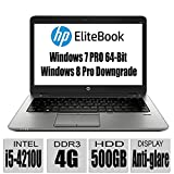HP Thin and Light EliteBook Premium Build G1 14-Inch Anti-Display Notebook with Intel Core i5-4210U processor / 4GB Memory / 500GB HDD / Intel HD Graphics 4400 / Bluetooth / UPTO 15 Hours Run Time/ Windows 7 Professional 64-Bit / Windows 8 Pro downgrade / only 3.7lb / Black