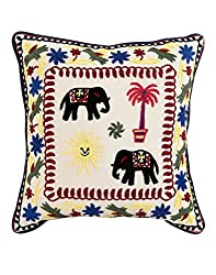 Home Decor Black Single Traditional Cushion Cover 17x17 Elephant Embroidered Pillow Covers Indian Cotton Throw Pillow By Rajrang
