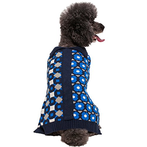 """Blueberry Pet 14"""" Back Length Fancy Unparalleled Graphics Dog Sweater In Midnight Blue Large front-436640"""