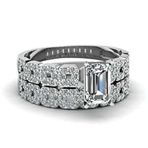 1 Ct Emerald Cut VS2-F Diamond Engagement Wedding Rings Pave Set 14K GIA