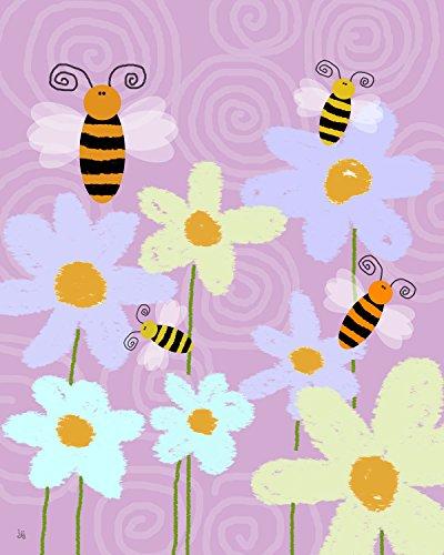 Green Leaf Art Honey Bees Canvas Art