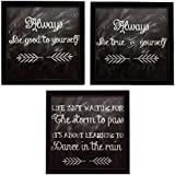 3 PIECE SET OF FRAMED WALL HANGING MOTIVATIONAL BE GOOD BE TRUE SPIRITUAL ART PRINTS 8.7 INCH X 8.7 INCH WITHOUT...