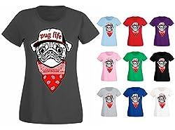 Womens Pug Life Dog Puppy Bandana Hip Hop Funny T-shirt