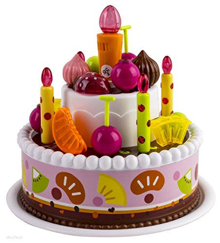 WolVol Singing Birthday Party Cake Toy with Fake Candle Light Up