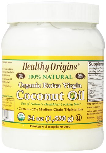 海外直送品Organic Extra Virgin Coconut Oil, 54 Oz by Healthy Origins