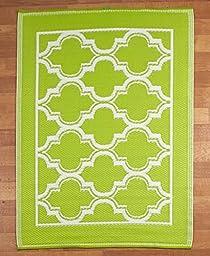 Bright Summer Lattice Mosaic Indoor Outdoor Patio Floor Rug Mats (green)