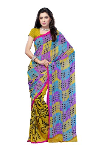 Fabdeal Indian Georgette Yellow Printed Saree