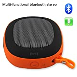 Leesentec NFC Connection Bluetooth Speakers Speaker Wired/Wireless Speaker 2 Mode Usage With Microphone And Outdoor Hook Perfect For Home and Outdoor Use (Orange)
