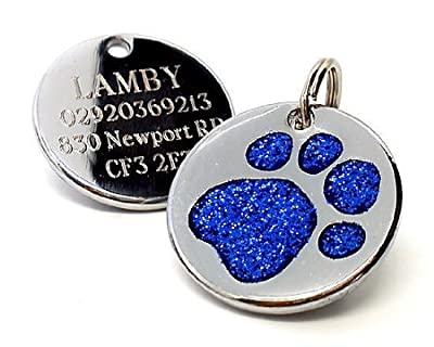 Personalised Engraved 25mm Glitter Paw Print Dog Pet ID Tag Disc.......TO LEAVE ENGRAVING DETAILS PLEASE READ PRODUCT DESCRIPTION LOWER DOWN THIS PAGE.