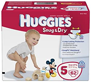 Huggies Snug and Dry Diapers, Size 5, Big Pack, 62 Count