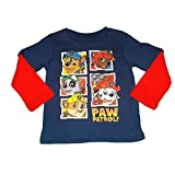 Nickelodeon Paw Patrol Little Boys Long Sleeve Blue Red Tshirt