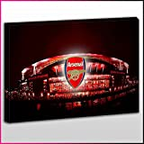 S507 Arsenal Emirates Stadium Badge White Glow Red Gunners London Unique Framed Ready To Hang Canvas, Sport, Pop Street, Wall Art, Picture