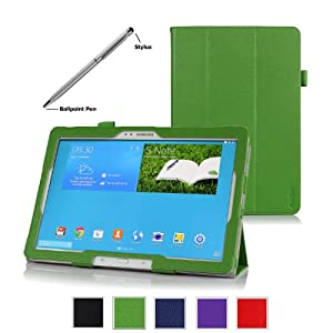 ProCase Samsung Galaxy PRO 12.2 inch Tablet Case with bonus stylus pen - Tri-Fold Smart Cover Case for Galaxy Note PRO 12.2 and Tab PRO 12.2 inch tablet, SM-P900,T900 (Green)