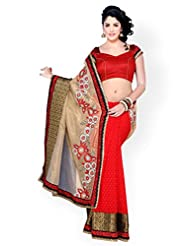 Chirag Sarees Crepe Saree In Red Colour For Party Wear