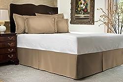 Splendid 400-Thread-Count 1-Piece Split Corner Bed Skirt Egyptian Cotton Solid Pattern 14 Inch Drop Length King Size Beige