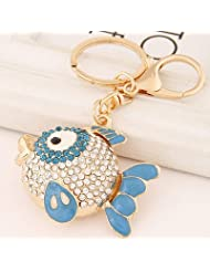 Ashiana Bling Fish Charm Key Ring & Key Chain Blue