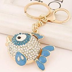 Ashiana Bling Fish Charm Key Ring & Key Chain Blue
