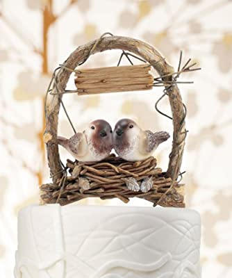9386WS A Love Nest Love Birds in Archway Cake Topper Wedding Baby Shower Favors