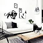 TGSIK DIY Leopard Wall Decal Stickers Animal Wild Zoo Leopards Cheetahs Tail Removable Vinyl Wall Decal Stickers for Living Room Home Art Mural Art Black