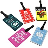 Bundle Monster 5 pc Silicone Mixed Design Luggage Bag Tag Set