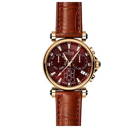 Charmex Fifth Avenue 2577 40mm Stainless Steel Case Brown Calfskin Synthetic Sapphire Men's Watch
