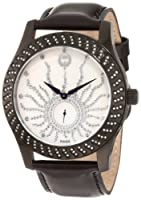 Brillier Women's 03-12421-06 Kalypso Black IP Black Leather Watch from Brillier