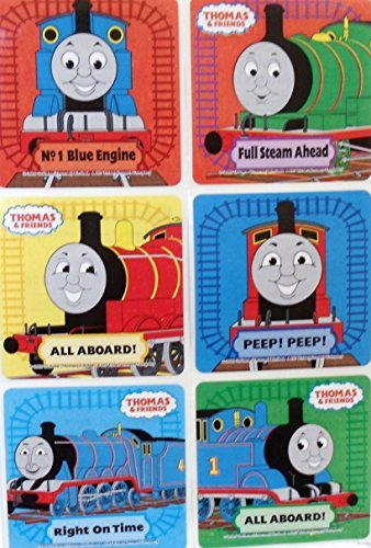 "THOMAS THE TRAIN Stickers- THOMAS THE TRAIN Birthday Party Favor Sticker Set Consisting of 45 Stickers Featuring 6 Different Designs Measuring 2.5"" Per Sticker Featuring Thomas, James and Percy"