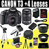 511%2BDjbuYRL. SL160  Top 10 Digital SLR Camera Bundles for February 12th 2012   Featuring : #4: Canon EOS Rebel T3i 18 MP CMOS Digital SLR Camera and DIGIC 4 Imaging with EF S 18 55mm f/3.5 5.6 IS Lens &amp; Canon 55 250IS Lens + 58mm 2x Telephoto lens + 58mm Wide Angle Lens (4 Lens Kit!!!!!!) W/32GB SDHC Memory+ Battery Grip + 2 Extra Batteries + Charger + 3 Piece Filter Kit + UV Filter + Full Size Tripod + Case +Accessory Kit