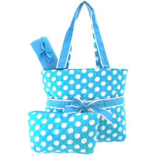 Cute! Polka Dots 3 Piece Diaper Bag Set w/ Changing Pad & Cosmetic Bag Blue (Blue) - 1