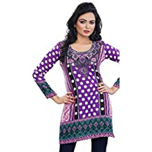 Womens India Tunic Top Kurti Printed Cotton Blend Indian Clothing