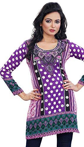 Kurti Top Long Tunic Womens Printed Cotton Blouse India Clothing (Purple, XL)