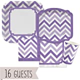 Chevron Purple - Party Tableware Bundle for 16 Guests
